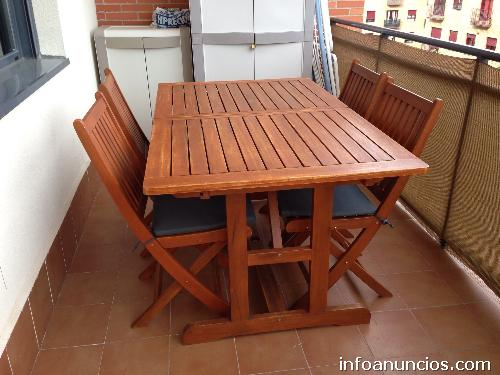 Ocasi n mesa de jard n y cuatro sillas en madera de - Mesas de madera para jardin ...
